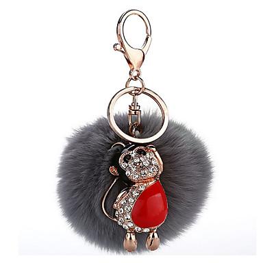 Schlüsselanhänger Sphäre Schlüsselanhänger Grau Metall Plüsch