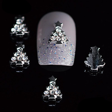 10st schoonheid kerstboom 3d legering strass nagel diy nail art decoratie