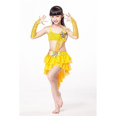 ベリーダンス ワンピース 子供用 ダンスパフォーマンス シフォン フリル 3個 ノースリーブ ローウエスト ドレス グローブ
