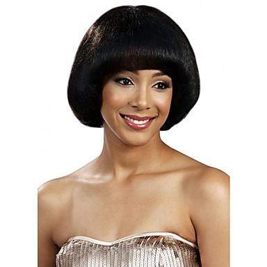 Synthetische Perücken Glatt Stil Bob Bubikopf Kappenlos Perücke Schwarz Synthetische Haare Damen Perücke Natürliche Perücke / ja