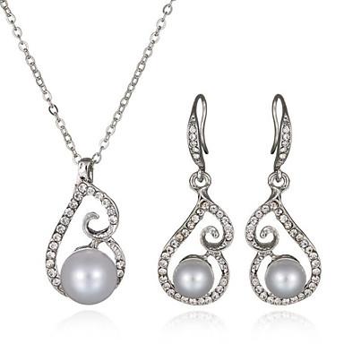 2019 Ultimo Disegno Da Donna Set Di Gioielli Perle Nuziale Europeo Perla Diamanti D'imitazione 1 Collana 1 Paio Di Orecchini Per Matrimonio Quotidiano Regali #05502654 Forte Imballaggio
