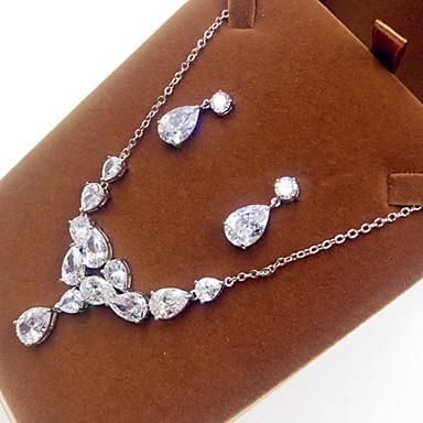 Damen Schmuckset Perle Zirkon Kubikzirkonia Halsketten Ohrringe Für Party Hochzeitsgeschenke