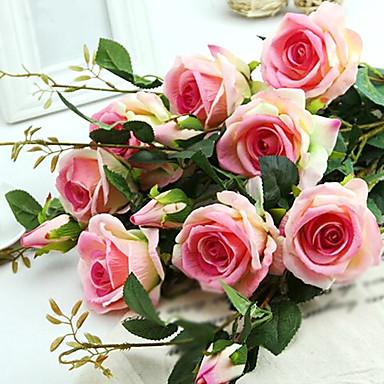1 ענף משי ורדים פרחים לשולחן פרחים מלאכותיים