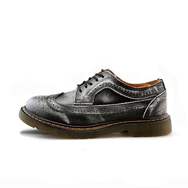 男性用 靴 PUレザー 春 秋 前かがみのブーツ コンフォートシューズ オックスフォードシューズ ウォーキング 編み上げ のために カジュアル グレー イエロー バーガンディー