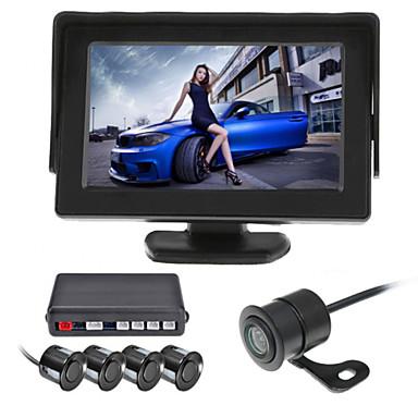 RenEPai® 4,3 polegadas 4 sonda carro vídeo câmera de exibição sensores de estacionamento lcd inversor radar de reserva campainha de alarme