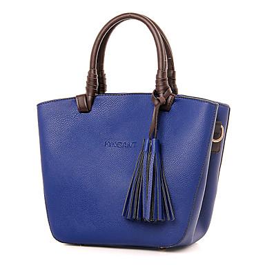 女性用 バッグ PU トート のために カジュアル オールシーズン ブラック オレンジ ベージュ フクシャ ブルー