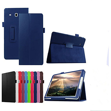 Case For Samsung Galaxy with Stand Flip Full Body Cases Solid Color Hard PU Leather for Tab E 9.6