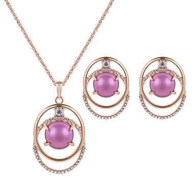 Strass Imitation Rubin Strass Aleación Purpur Rot 1 Paar Ohrringe Halsketten Für Hochzeit Party 1 Set Hochzeitsgeschenke