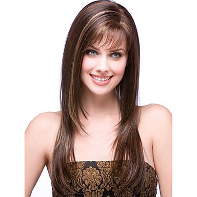 Synteettiset peruukit Suora Otsatukalla Synteettiset hiukset Peruukki Naisten Suojuksettomat