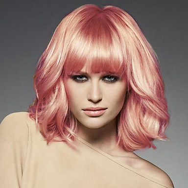 Pelucas sintéticas Ondulado Grande Rosa Pelo sintético Rosa Peluca Mujer Sin Tapa Rosa / Sí