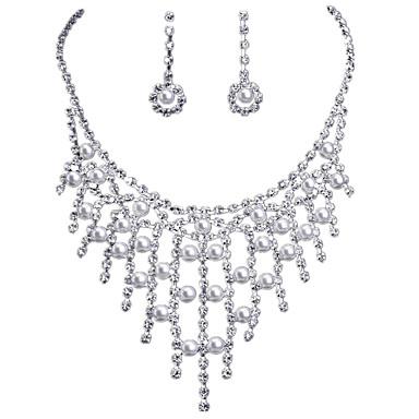 Schmuckset Perle Brautkleidung Perle Diamantimitate Tropfen Silber 1 Halskette 1 Paar Ohrringe Für Hochzeit Alltag 1 Set