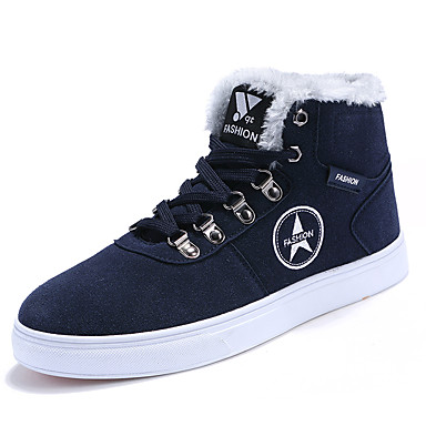 Herren-Sneaker-Lässig-PU-Flacher Absatz-Komfort-Schwarz Blau Braun Rot