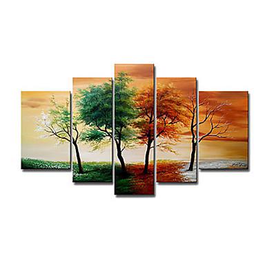 ручная роспись современные ландшафтные 4 сезон дерево картины маслом на холсте 5pcs / не устанавливал кадр