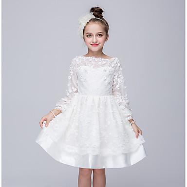 Vestido Chica de Noche Un Color Poliéster Manga Larga Primavera Verano Otoño Blanco