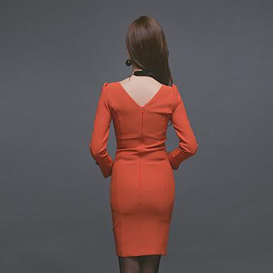 新しい冬2016女性の韓国語バージョン' sのVネック長袖スリムだった薄い不規則な低ヒットファッションのドレス