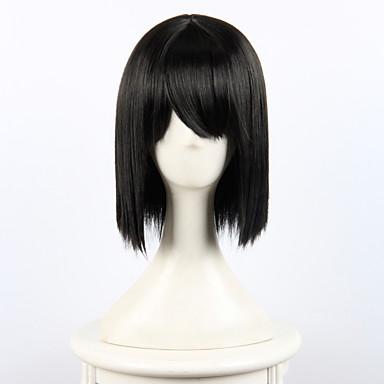 Syntetiske parykker Dame Rett Syntetisk hår Parykk Kort Lokkløs Svart OUO Hair