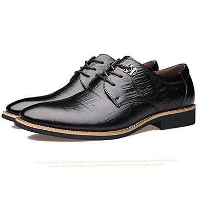 Miehet kengät Nahka Kevät Kesä Syksy Talvi Comfort Uutuus Oxford-kengät Solmittavat Käyttötarkoitus Häät Juhlat Musta Tumman ruskea