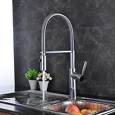 Grifería de Cocina - Moderno / Arte Decorativa / Retro / Modern Cromo Pull-out / Pull-down / Boquilla estándar / Alto, Alto, Arco / Lavabo