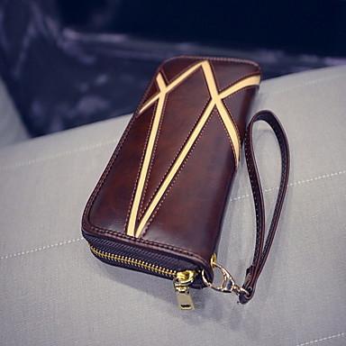 女性用 バッグ PU ジッパ- 二つ折り 財布 のために カジュアル オールシーズン ブラック Brown