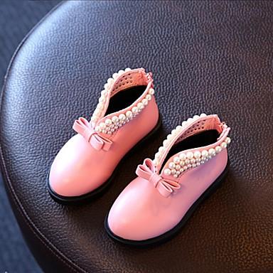 女の子 靴 レザーレット 春 秋 冬 コンフォートシューズ ブーツ フラットヒール ラウンドトウ イミテーションパール 用途 カジュアル ブラック レッド ピンク