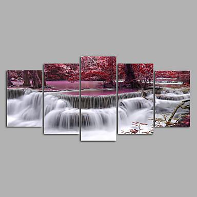 Laminado Impressão De Canvas Paisagem Modern, 5 Painéis Tela de pintura Horizontal Estampado Decoração de Parede Decoração para casa