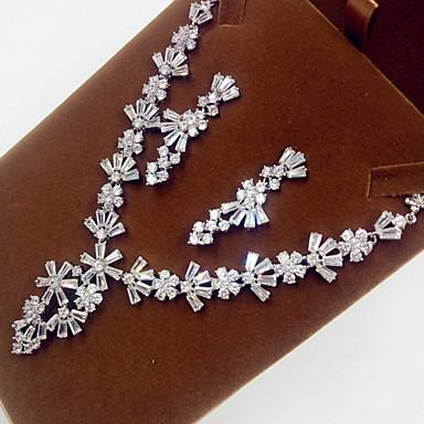 Damen Schmuckset Brautkleidung Zirkon Kubikzirkonia Diamantimitate Halsketten Ohrringe Für Hochzeit Party Hochzeitsgeschenke