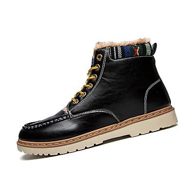 Miehet kengät Nahka Talvi Comfort Maiharit Bootsit Kävely Solmittavat Käyttötarkoitus Kausaliteetti Musta Burgundi