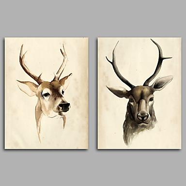 Abstrakti Eläin Klassinen,2 paneeli Kanvas Horizontal Painettu Wall Decor For Kodinsisustus