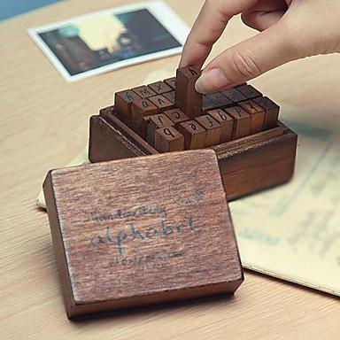 28pcs De lemn Lemn Petrecere Birou / Carieră Timbre Cutie de Ștampilă