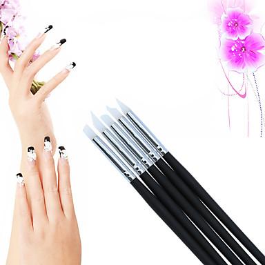voordelige Nagelgereedschap & Apparatuur-5 stuks Siliconen / Hout Nail Art Tool Nagelborstels Nail Painting Tools Voor Noviteit Nagel kunst Manicure pedicure leuke Style