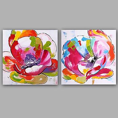 Pintura a Óleo Pintados à mão - Floral / Botânico Clássico / Estilo Europeu Incluir moldura interna / Lona esticada