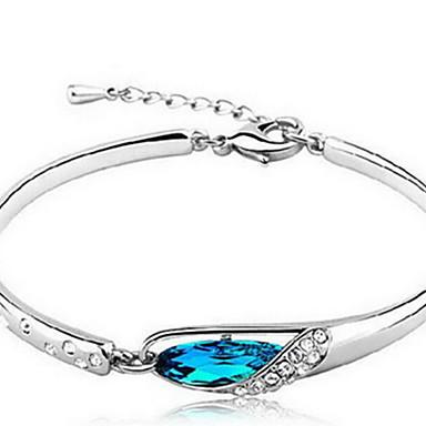 abordables Bracelet-Chaînes Bracelets Femme Cristal Argent sterling Cristal Autrichien Chaîne Naturel Bracelet Bijoux Bleu Irrégulier pour Cadeau Valentin