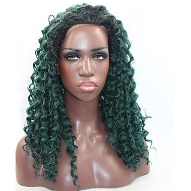 Synteettiset pitsireunan peruukit Kinky Curly Luonnollinen hiusviiva Vihreä Naisten Lace Front Luonnollinen peruukki Synteettiset hiukset