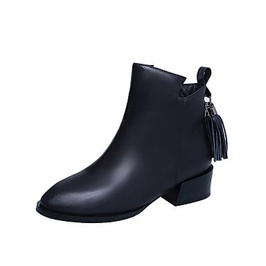 Damen-Stiefel-Outddor Kleid Lässig-PU-Blockabsatz-Komfort-Schwarz