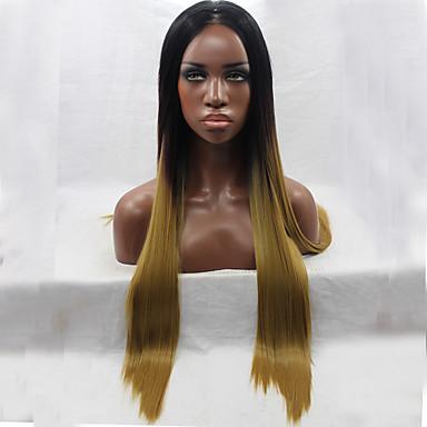 Syntetisk blonder foran parykker Rett Syntetisk hår Naturlig hårlinje Brun Parykk Dame Blonde Forside Mørkebrun / Mørk Rødbrun