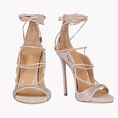 Laine dragée 05509966 Lacet de Femme ouvert clair Bride Cheville Talon Brillante Rose Aiguille Sandales Chaussures synthétique Eté Bout Paillette UX66x5aq