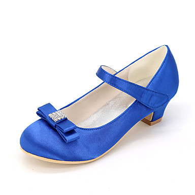 Chica Zapatos Seda Primavera verano Zapatos para niña florista Tacones Pedrería / Pajarita para Rosa / Champaña / Marfil / Boda