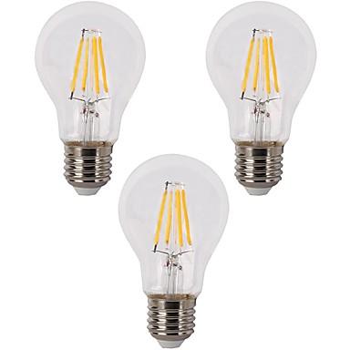 3pçs 3.5W 400lm E26 / E27 Lâmpadas de Filamento de LED A60(A19) 4 Contas LED COB Regulável Branco Quente 110-120V 220-240V