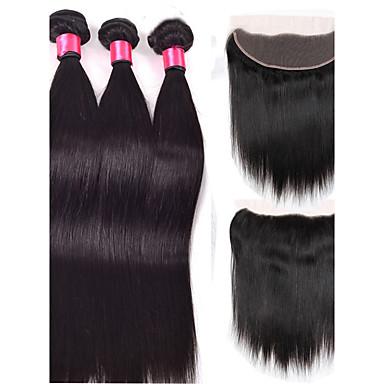 baratos Extensões de Cabelo Natural-4 pacotes Cabelo Brasileiro Liso 8A Cabelo Humano Ondulado Tramas de cabelo humano Extensões de cabelo humano / Reto