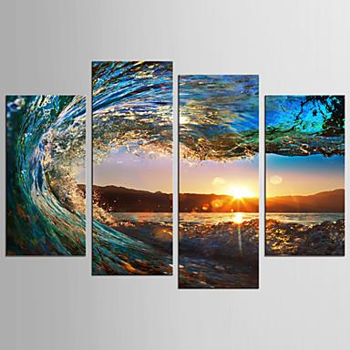 billige Trykk-Trykk Valset lerretskunst - Landskap Still Life Klassisk Moderne Fire Paneler Kunsttrykk