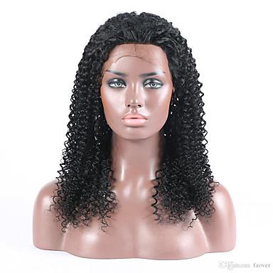 Damen Echthaar Perücken mit Spitze Echthaar Vollspitze 130% Dichte Kinky-Curly Perücke Natürlich Schwarz Kurz Medium Lang 100 % von Hand