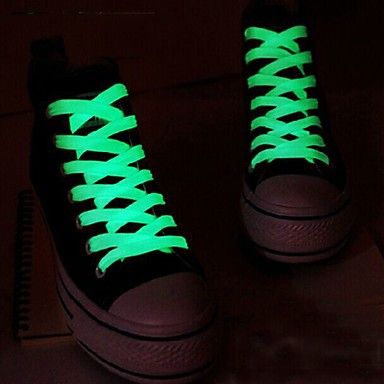 1pair esporte cadarço luminoso brilho na noite escura cor cadarço fluorescente esporte atlético laços de sapato plana