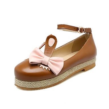 Damen Schuhe Kunstleder Frühling Sommer Herbst Winter Flache Schuhe Plattform Runde Zehe Schleife Für Normal Kleid Party & Festivität