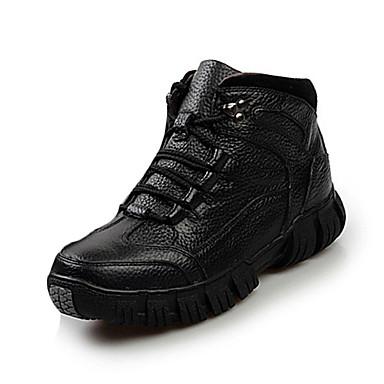 Miesten kengät Nahka Talvi Comfort Bootsit Solmittavat varten Kausaliteetti Musta Ruskea