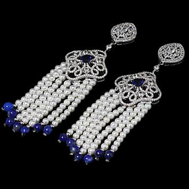Damen Tropfen-Ohrringe Luxus-Schmuck Perle Zirkon Kubikzirkonia Kupfer Schmuck Für Alltag Normal Sport