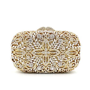 abordables Sacs-Femme Cristal / strass Métal Pochette Sacs de soirée en cristal strass A Fleur Dorée