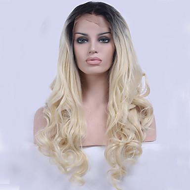 Syntetisk blonder foran parykker Bølget Naturlig hårlinje Blond Dame Blonde Forside Naturlig parykk Syntetisk hår