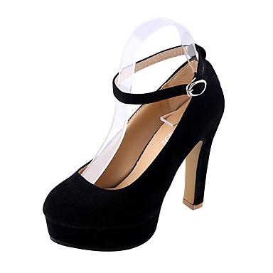 Damen High Heels PU Frühling Lässig Schnalle Blockabsatz Schwarz Rot Blau 2,5 - 4,5 cm