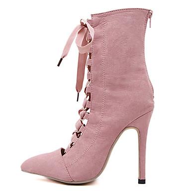 Aiguille Botillons Bottes Chaussures 05509655 pointu Talon Automne Nouveauté Daim Marche Fermeture Hiver Femme Lacet Bout Confort Noir FqYvq0