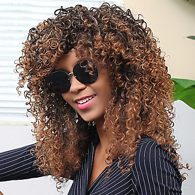 Pelucas sintéticas Rizado / Afro Con flequillo Pelo sintético Marrón Peluca Mujer Sin Tapa Marrón oscuro / castaño medio MAYSU